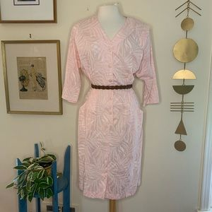 Vintage pink tropical print dress